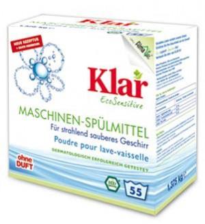 Klar Порошок для мытья посуды для посудомоечных машин гипоаллергенный, 1,375 кг.