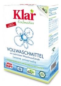 Klar Стиральный порошок на мыльном орехе для белого и прочноокрашенного белья гипоаллергенный, 2,475 кг.