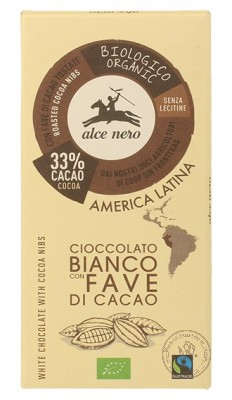Alce Nero Белый шоколад с дроблеными зернами какао, 100гр.