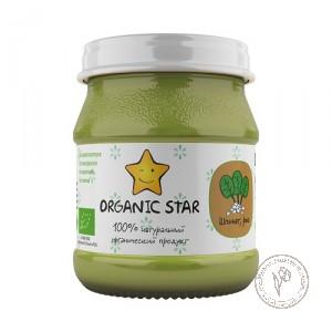 Organic Star Пюре для детского питания с 8 месяцев *Шпинат, Рис*, 100 гр.
