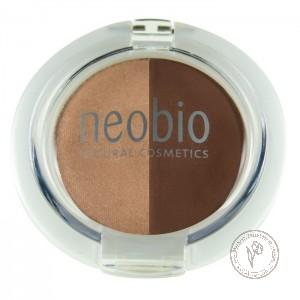 NeoBio Тени для век двойные № 02 коричневое шампанское, 2,5 гр.