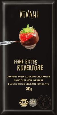 Vivani Темный кувертюр (глазурь из темного шоколада 70%), 200 гр.