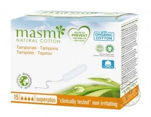 Masmi Гигиенические тампоны Super+ из органического хлопка, 15 шт.