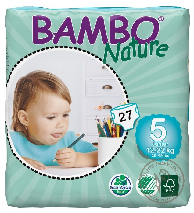 18f4100b2a7f Bambo (Бамбо) Детские Эко-подгузники Junior (12-22 кг.), 27 шт ...