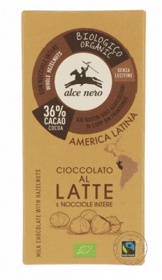 Alce Nero Молочный шоколад с лесным орехом, 100гр.